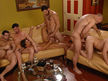 Horny sexy men in a hardore orgy